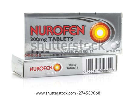 SWINDON, UK - MAY 3, 2015: Two Boxes of Nurofen, Nurofen is an Ibuprofen based tablet used for relieving pain, fever and inflammation - stock photo