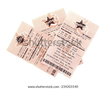 SWINDON, UK - NOVEMBER 30, 2014: Euro Millions and Lotto Lottery Tickets on a white background  - stock photo