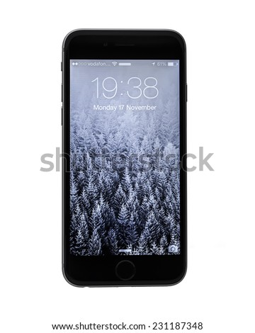 SWINDON, UK - NOVEMBER 17, 2014: The New Apple iPhone 6 on a white background showing the IOS 8 Lock screen. - stock photo