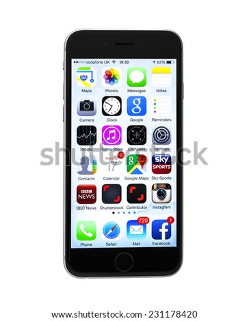 SWINDON, UK - NOVEMBER 15, 2014: The New Apple iPhone 6S on a white background showing the IOS 8 application screen. - stock photo