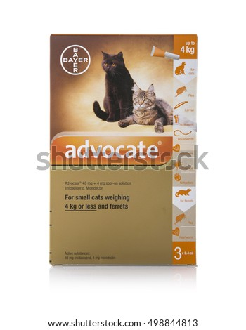 SWINDON, UK - OCTOBER 15, 2016: Advocate Flea Treatment for Small cats  and Ferrets on a white background