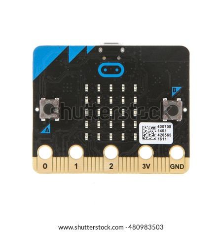 SWINDON, UK - SEPTEMBER 10, 2016: BBC Micro Bit, The micro:bit is a handheld, fully programmable computer being given free to every Year 7 or equivalent child across the UK