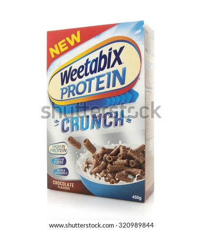 SWINDON, UK - SEPTEMBER 4, 2015: Packet of Weetabix Protein Crunch on a white background. Weetabix is produced by Weetabix Limited in the United Kingdom - stock photo