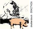 Swine Flu Bitmap Background - stock photo