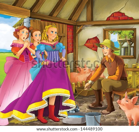 Swineherd -  Prince or princess - castles - knights and fairies - illustration for the children