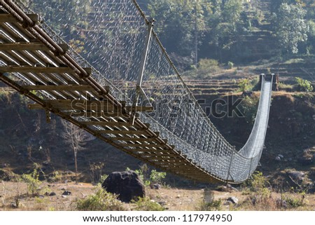 Swing Bridge, Pokhara Nepal - stock photo