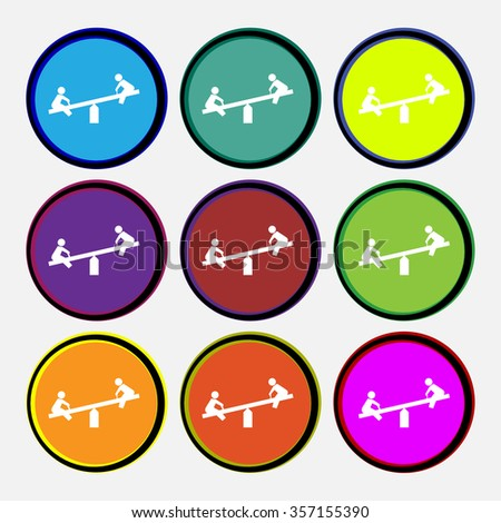 swing icon sign. Nine multi colored round buttons. illustration - stock photo