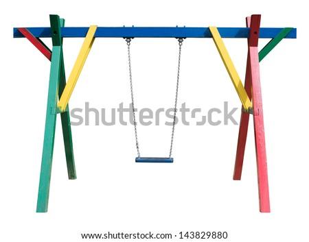 Swing isolated on white background - stock photo