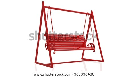 Swing. Isolated on white background. 3d - stock photo