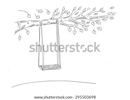 Swing set line art illustration - stock photo