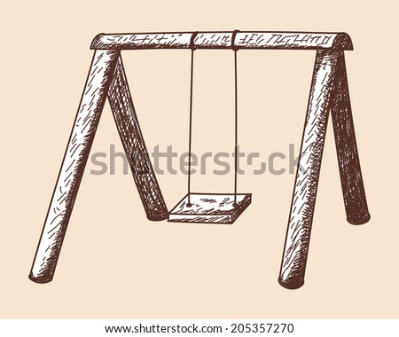 Swing sketch - stock photo