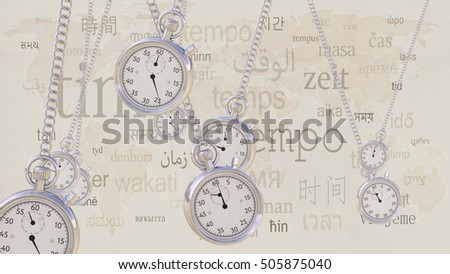 Swinging retro stopwatches against same inscriptions in different languages. Time, transience and timezone concepts. 3D rendering