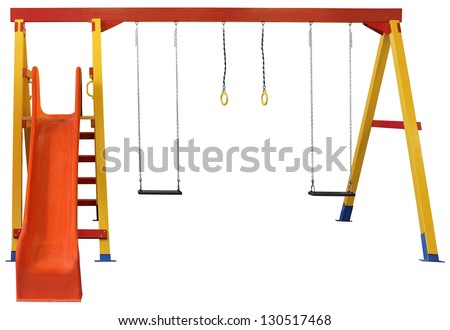 Swings and red slide isolated on white background - stock photo