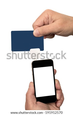 Swiping Credit/Debit Card With Card Reader/ Vertical Shot/ Isolated On White - stock photo