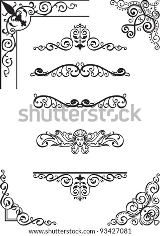 Swirl corner and divide set on white - stock photo