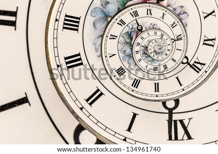 Swirl Effect on an Ornate Clock Face with Roman Numerals - stock photo