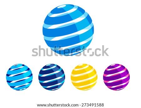 Swirl Global Earth World Icon Symbol Concept- Raster Version - stock photo