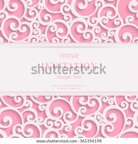 Swirl Pink 3d Valentines or Wedding Invitation Cards Background with Curl Damask Pattern - stock photo