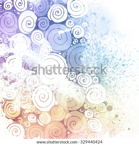 Swirl watercolor abstract hand painted background. Colorful aquarelle textures. Bubbles pattern. Graphic art design elements for website or brochure headers or sidebars. - stock photo