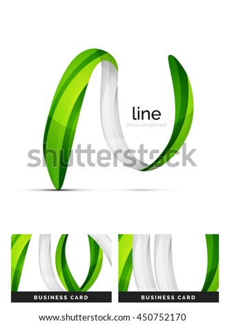 Swirl wavy ribbon, abstract concept. business logo
