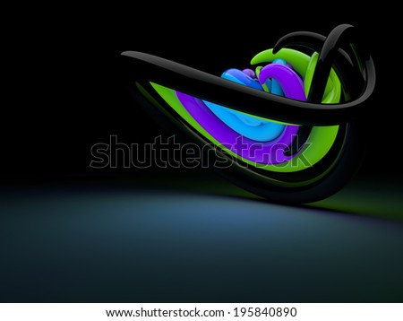 Swirled 3d glossy neon lines and shapes - stock photo
