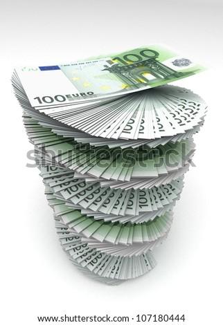 Swirled Euro's - stock photo