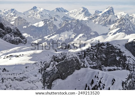 Swiss alpine peaks landscape panorama of Bern Highland  - stock photo