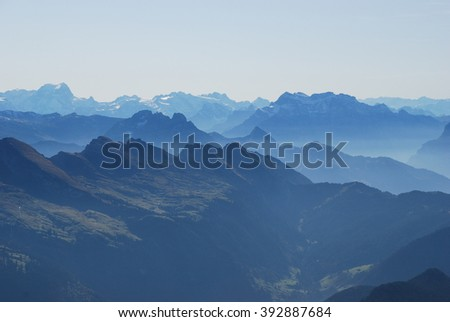 Swiss alps and fog