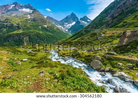 Swiss Alps Scenic Landscape. Switzerland Mountains Scenery. Europe.