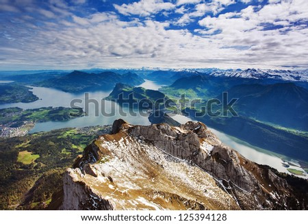 Swiss Alps view from Mount Pilatus, Lucerne Switzerland - stock photo