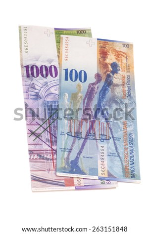 Swiss 1000 and 100 Franc notes isolated - stock photo