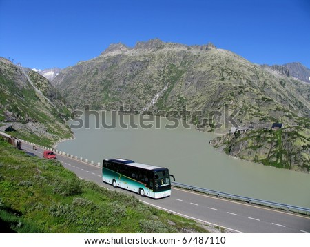 Swiss beauty, Grimselsee at Grimselpass - stock photo
