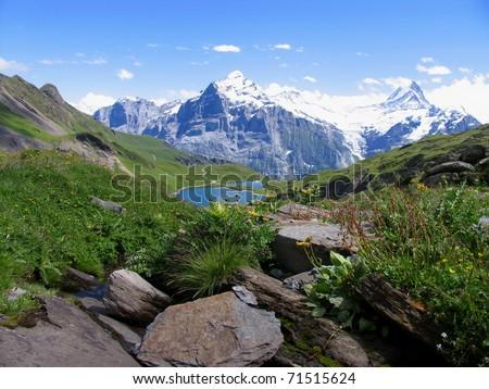 Swiss beauty, Schreckhorn and Wetterhorn  from Bachalpsee valley - stock photo
