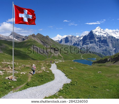Swiss beauty, view to Wetterhorn on the way to Bachalpsee