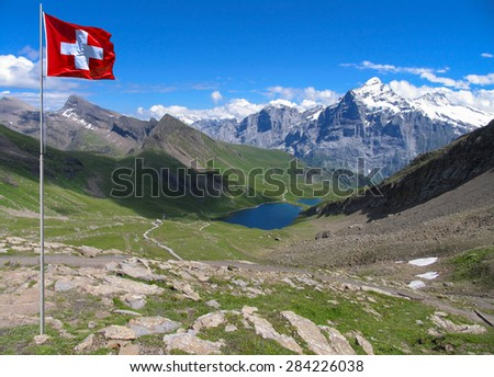 Swiss beauty,  Wetterhorn  from the valley with Bachalpsee