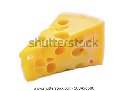 swiss cheese isolated on a white background - stock photo