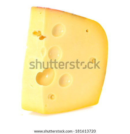 Swiss cheese isolated on white background - stock photo