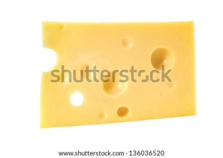Swiss cheese with holes on a white background. Clipping path included. - stock photo