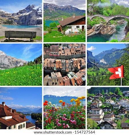 Swiss collage - stock photo
