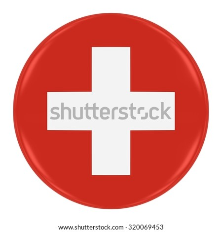Swiss Flag Badge - Flag of Switzerland Button Isolated on White