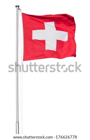 Swiss flag flying on a metal pole, isolated on a white background - stock photo