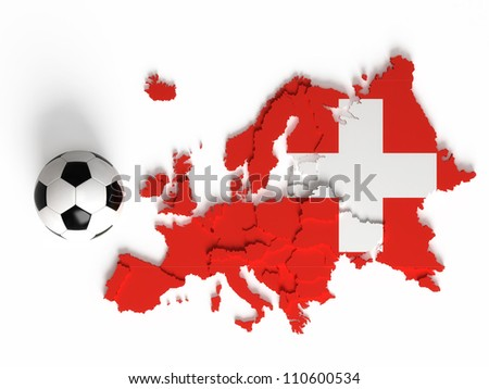 Swiss flag on European map with national borders, isolated on white background - stock photo