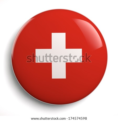 Swiss flag white cross on red. Clipping path included.