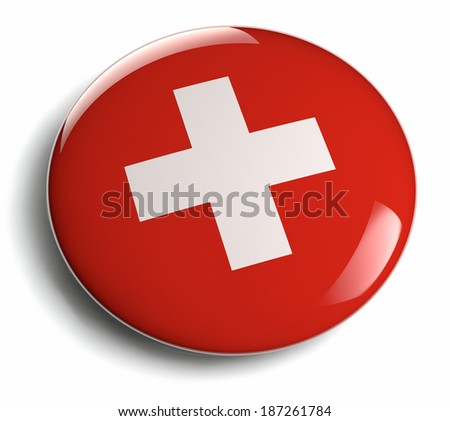 Swiss flag white cross on red. Clipping path included. - stock photo