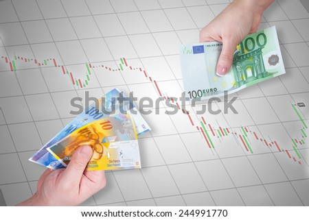Swiss Franc and Euro banknotes on stock market chart background - Euro is stronger than Swiss Franc - stock photo