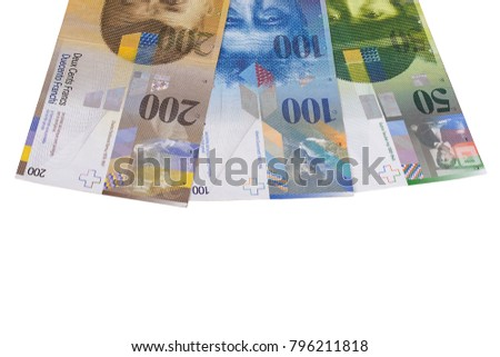 Swiss francs bill isolated on white background