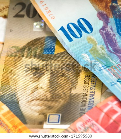 Swiss francs. Currency of Switzerland - stock photo