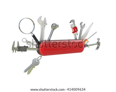 swiss knife multi tool 3d - stock photo