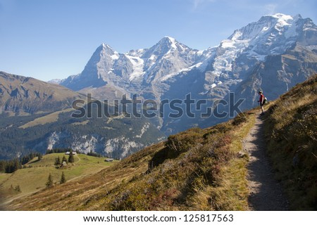 Swiss landscape and hiking path in the Alps