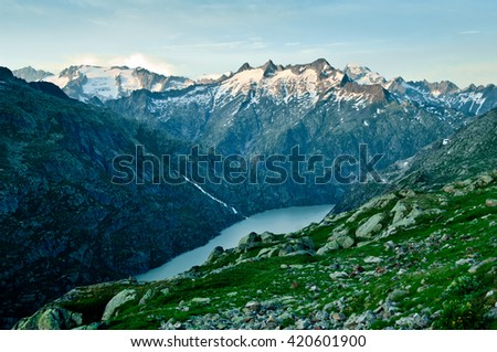 Swiss mountains: Sunset near Grimselpass in Bernese Alps, Switzerland